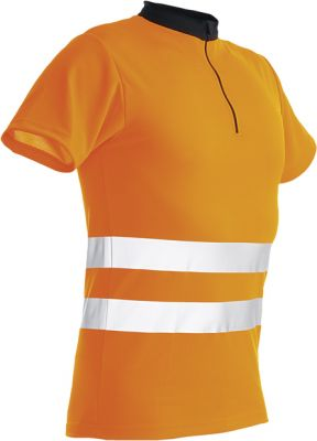 Pfanner Zipp-Neck Shirt orange XL Kurzarm